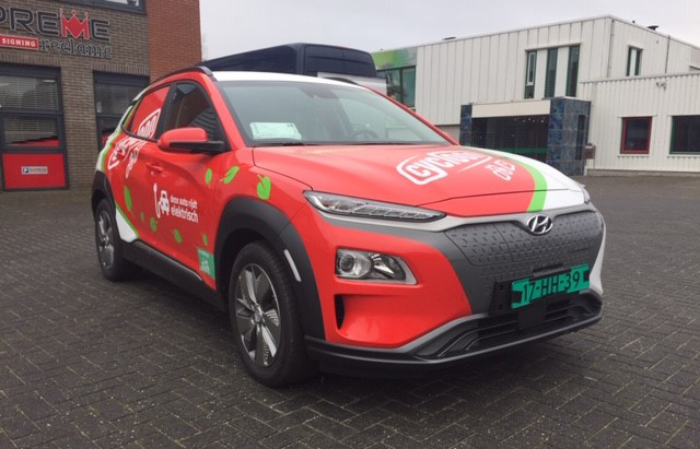 Carwrapping Hyunday Kona voor Cycloon Zwolle